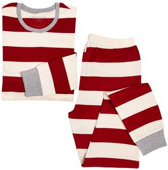 Burt's Bees Rugby Stripe Organic Adult Womens Holiday Matching Pajamas