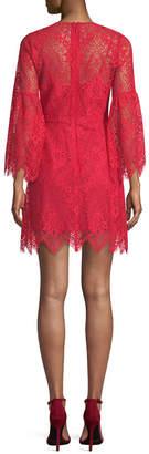 BCBGMAXAZRIA Lace Bell-Sleeve Dress