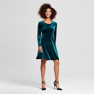 Women's Velvet Scoop Neck Fit & Flare Dress - Alison Andrews $59.99 thestylecure.com