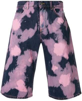 MSGM tie dye-print denim shorts