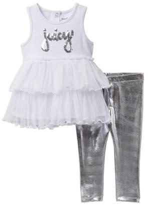 Juicy Couture Mesh Bottom Tunic & Foil Legging Set (Toddler Girls)