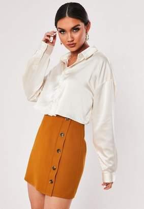 Missguided Rust Tortoise Shell Horn Button Mini Skirt