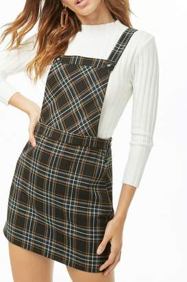 Forever 21 Plaid Pinafore Dress