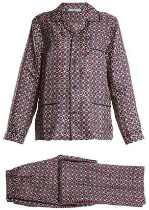 Prada Geometric Print Silk Pyjama Set - Womens - Red Multi
