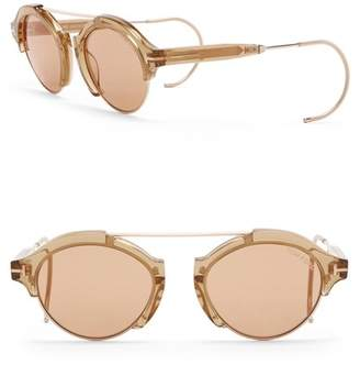 Tom Ford Farrah 49mm Round Browbar Sunglasses