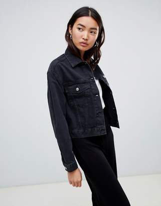 Asos DESIGN denim jacket in washed black