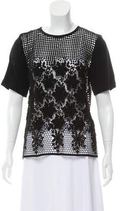 Tibi Lace Short Sleeve Top