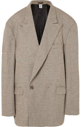 Vetements Oversized Houndstooth Double-breasted Tweed Blazer - Stone