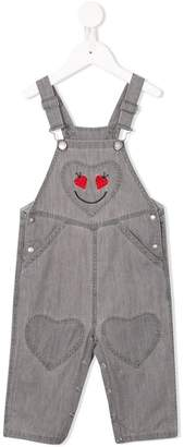 Stella McCartney ladybird heart embroidered dungarees