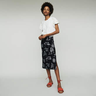 Maje Midi skirt in embroidered crepe