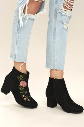 Amanda Black Suede Embroidered Ankle Booties $39 thestylecure.com