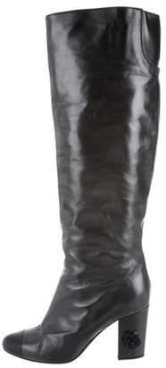 Chanel CC Cap-Toe Knee-High Boots