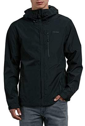 Volcom Men's Stone Storm Hooded Zip up Rain Jacket