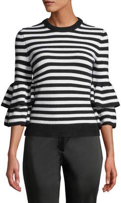 Michael Kors Cashmere-Striped Tiered-Sleeve Sweater