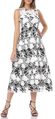 Carmen Marc Valvo Sleeveless Embroidered Lace Fit-&-Flare Midi Dress