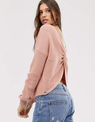 Hollister reversable knit sweater in blush