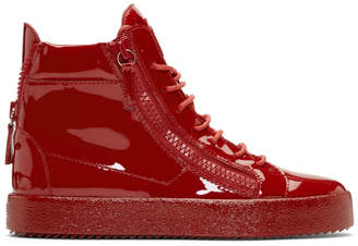 Giuseppe Zanotti Red Patent May London High-Top Sneakers