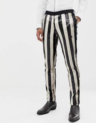 Asos EDITION skinny tuxedo suit pants in black and cream reversible sequin stripe