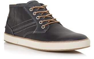 Dune Mens SCHOLESY Mixed Material Lace Up Trainer in Navy
