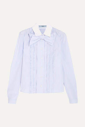Prada Bow-embellished Ruffled Striped Cotton Shirt - Sky blue