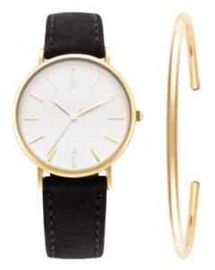 RumbaTime Bychari Lafayette Genuine Leather Strap Watch and Cuff Set