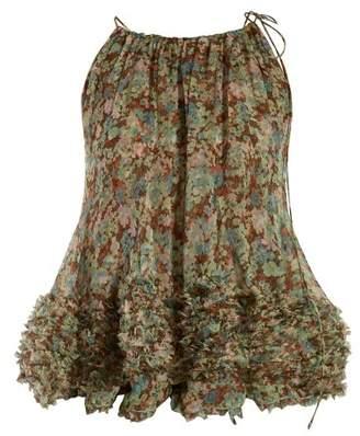 6eaf291b06cfa Stella McCartney Meadow Print Chiffon Top - Womens - Khaki