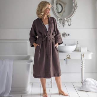 The Linen Works Aubergine Linen Bath Robe