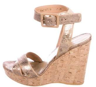 Stuart Weitzman Leather Wedge Sandals