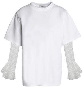 Goen.j Embroidered Tulle-Paneled Cotton-Blend Jersey Top