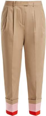 Preen Line Daria striped-cuff stretch-cotton cropped trousers