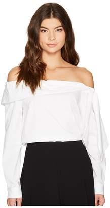 CeCe Long Sleeve Off Shoulder Bow Front Poplin Shirt Women's Clothing