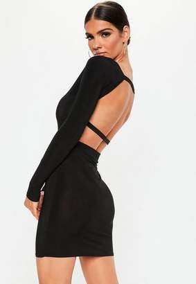 Missguided Black Long Sleeve Open Back Dress