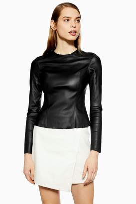 Topshop Leather Seam Top by Boutique