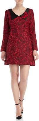 Save The Queen Floral Jacquard Envelope Collar Dress