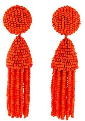 Oscar de la Renta Short Beaded Tassel Clip-On Earrings