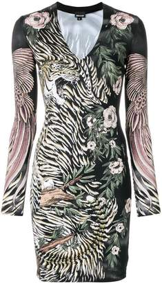 Just Cavalli tiger and floral print bodycon dress
