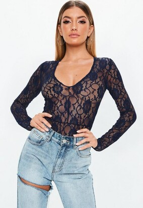 Missguided Navy Lace Deep Plunge Long Sleeve Bodysuit
