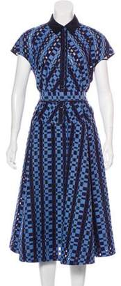 Lela Rose Short Sleeve Midi Dress Blue Short Sleeve Midi Dress