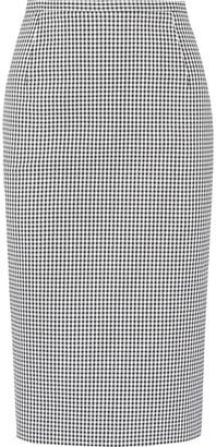 Michael Kors Collection - Gingham Stretch-cotton Pencil Skirt - Black $595 thestylecure.com