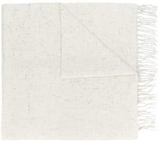 Closed long fringe scarf
