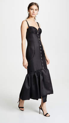 Sandra Mansour Peplum Flare Midi Dress