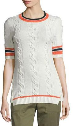 3.1 Phillip Lim Collegiate Short-Sleeve Open-Back Sweater, White $495 thestylecure.com