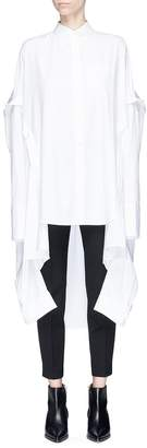 Helmut Lang Drape layered back oversized poplin poncho shirt