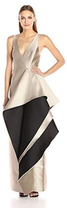 Halston Women's Sleeveless V Neck Color Blocked Gown with Flounce Skirt