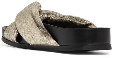 Chloé - Metallic Cracked-leather Slides - Gold 3