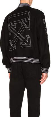 Off-White Off White Diagonal 3D Lin Skinny Varsity Jacket