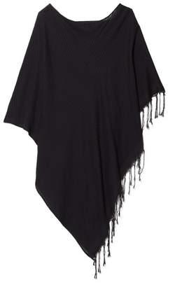 SU Paris - Syama Fringed Cotton-gauze Poncho - Black