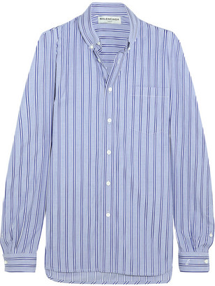 Balenciaga - Striped Cotton-poplin Shirt - Blue $795 thestylecure.com