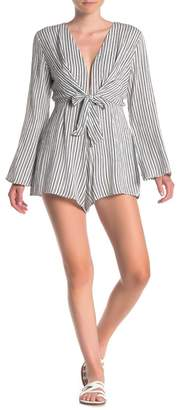 HYFVE Long Sleeve V-Neck Stripe Front Tie Romper