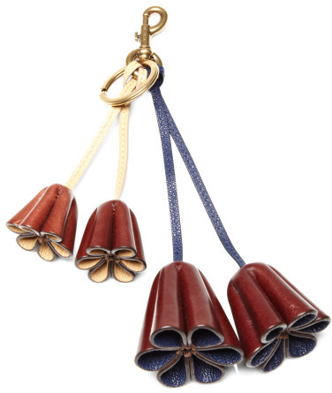 Marc Jacobs Leather Flower Bag Charm Marine & Natural